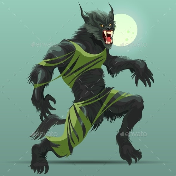 Angry Werewolf Monster Turning Under Full Moon - Monsters Characters