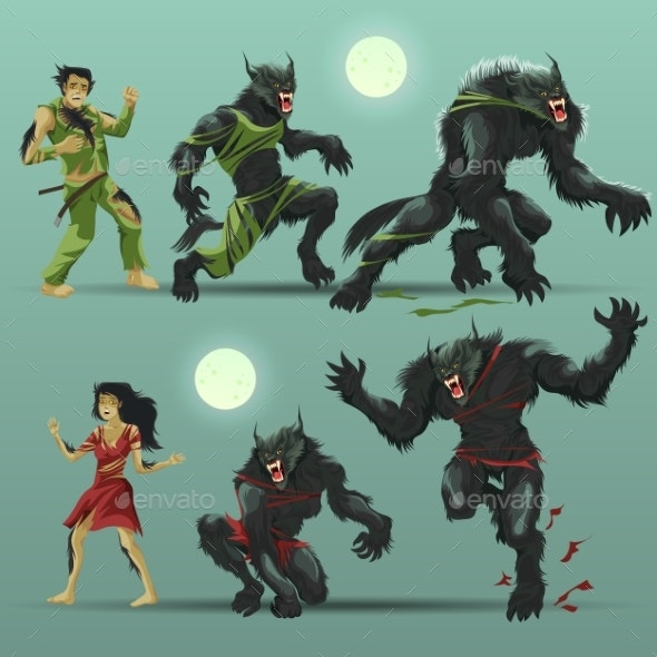 Man and Woman Werewolf Set - Animals Characters