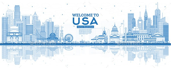 Outline Welcome to USA Skyline with Blue Buildings - Buildings Objects