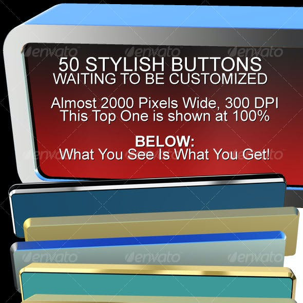 50 3D Rendered Button Shapes