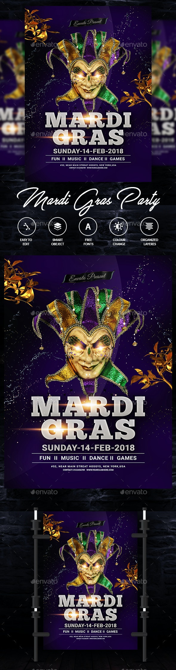 Mardi Grass Flyer Template - Events Flyers