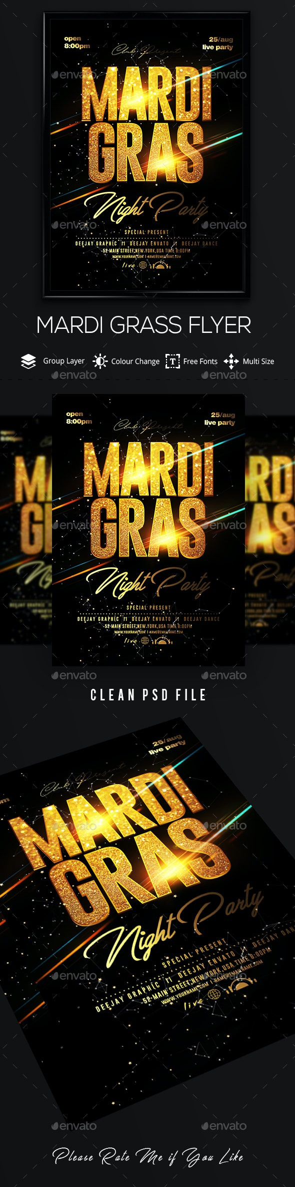 Mardi Grass Flyer Template - Clubs & Parties Events