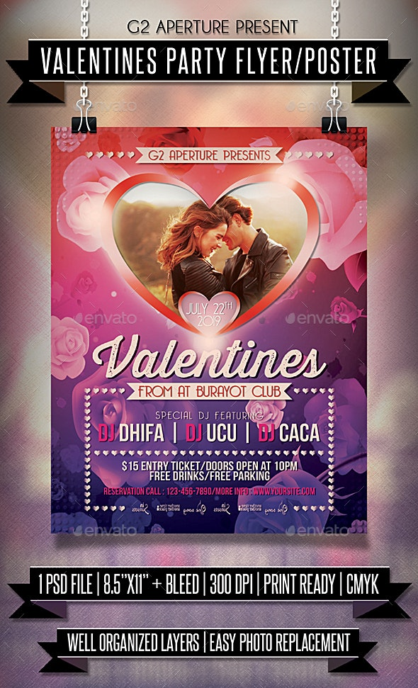 Valentines Party Flyer / Poster - Clubs & Parties Events
