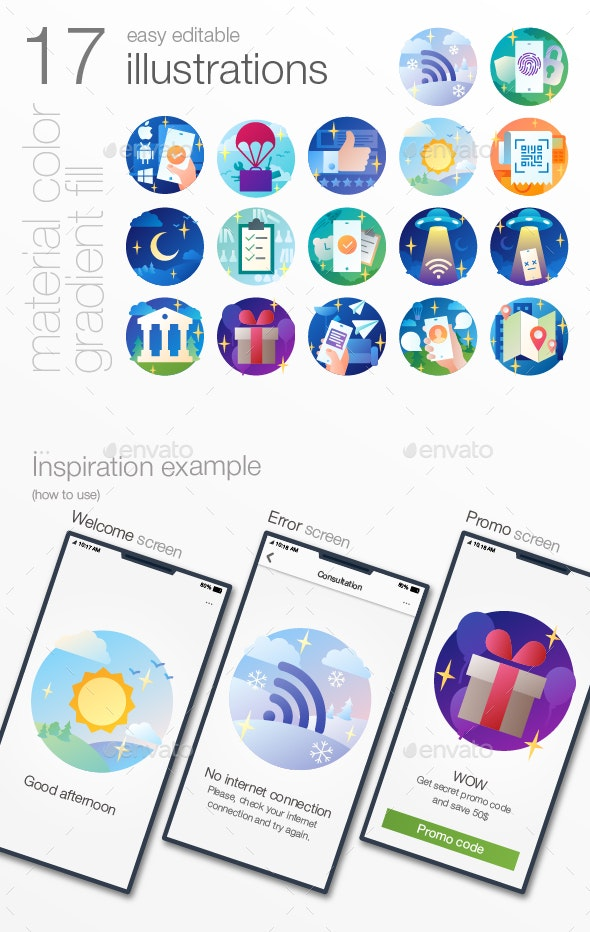 Onboarding illustrations (material colors) - Icons