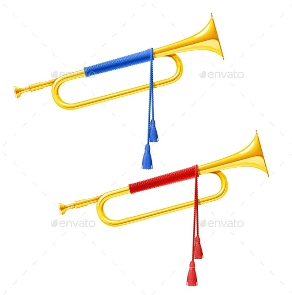 Golden Royal Horn Trumpet with Blue and Red - Man-made Objects Objects