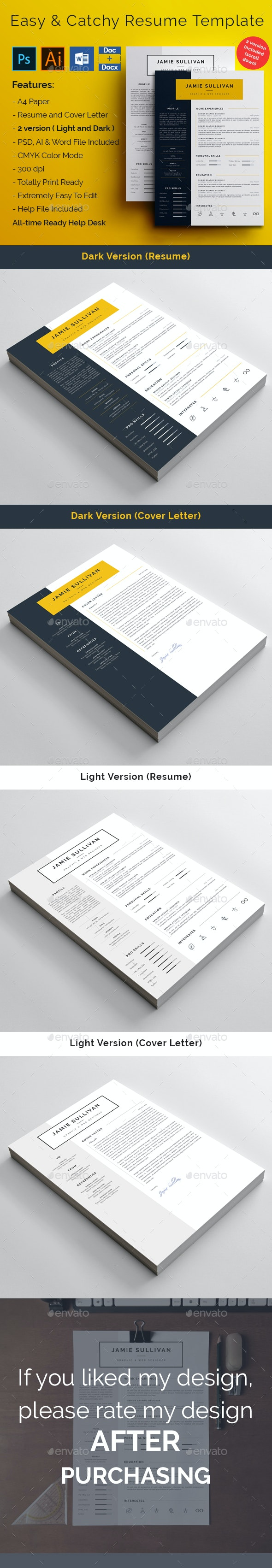 Easy and Catchy Resume Template - Resumes Stationery