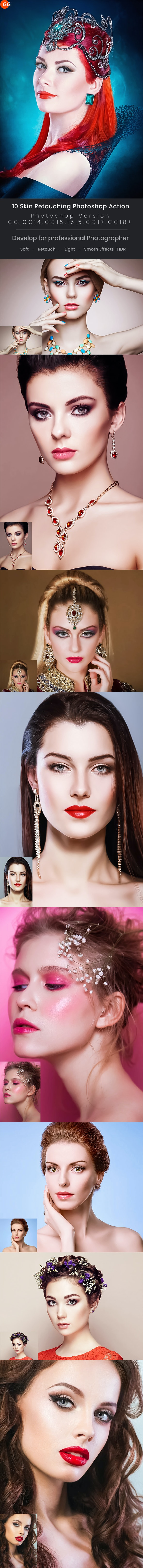 10 Skin Retouching Photoshop Action - Photo Effects Actions