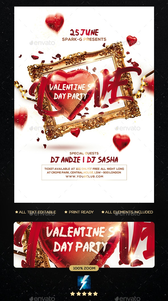 Valentine Day Party Flyer - Clubs & Parties Events