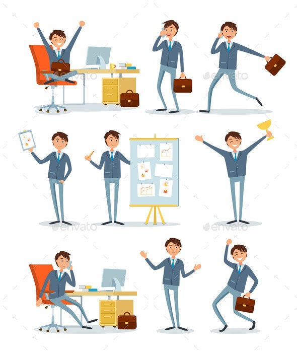 Business People Working in Office with Information - Concepts Business