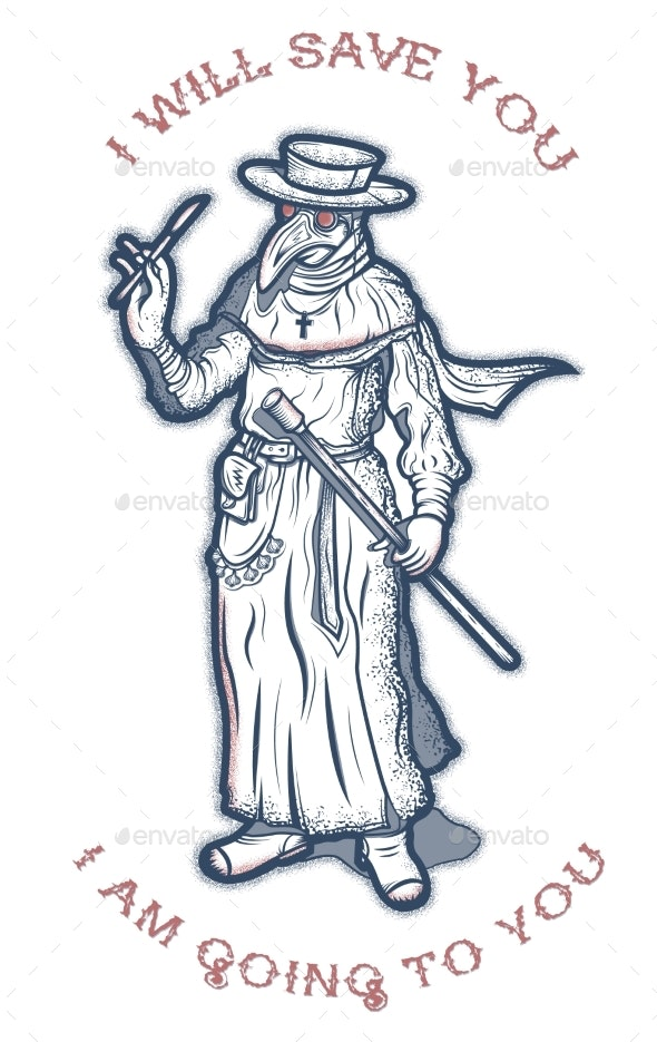 Plague Doctor Hand Drawing Vintage Engraving - Miscellaneous Characters