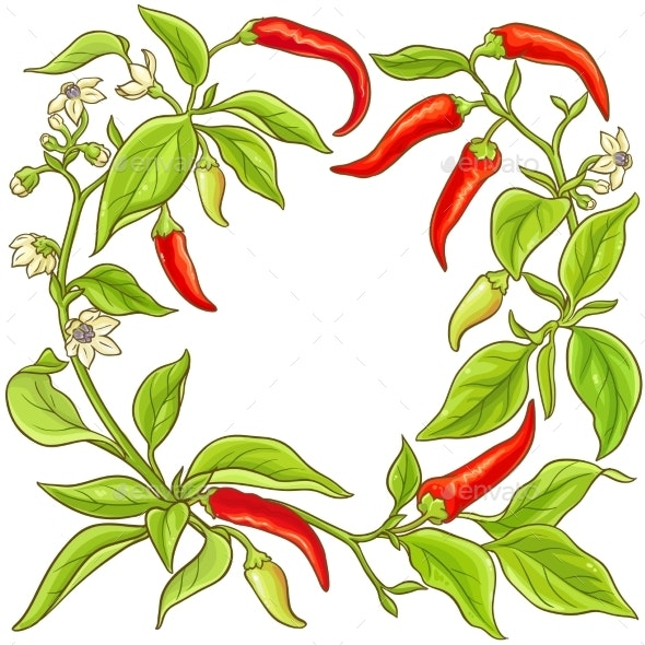 Cayenne Pepper Vector Frame - Food Objects