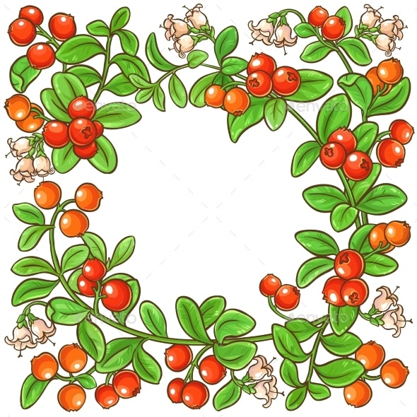 Cranberry Branch Vector Frame - Food Objects