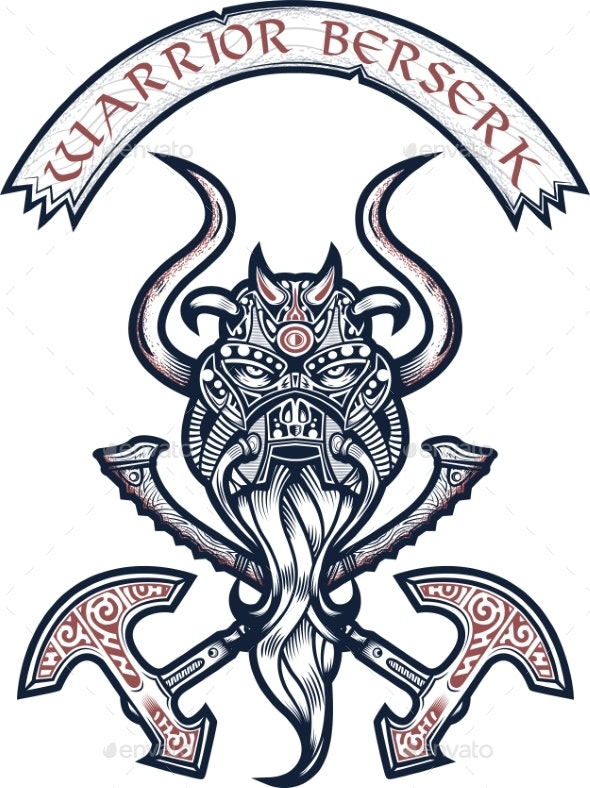 God Odin Illustration in Tattoo Style - Miscellaneous Vectors