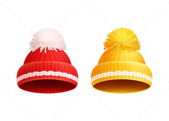 Knitted Red Yellow Hat with Pom-Pom Vector Icon - Man-made Objects Objects