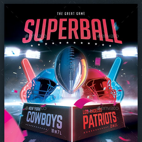 American Football Superball Flyer College Football Template
