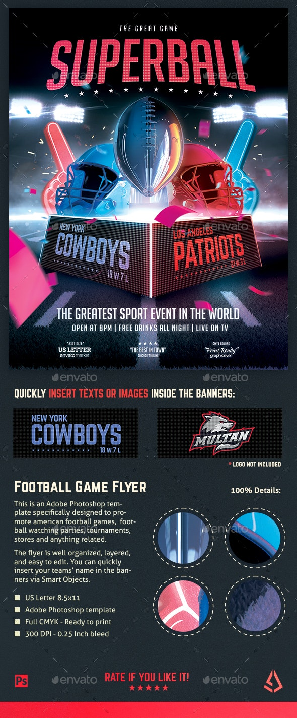 American Football Superball Flyer College Football Template - Sports Events