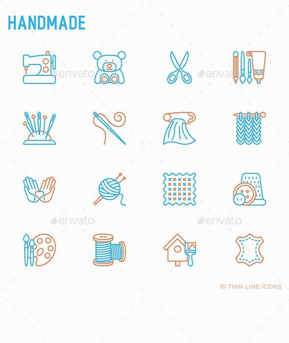 Handmade | 16 Thin Line Icons Set