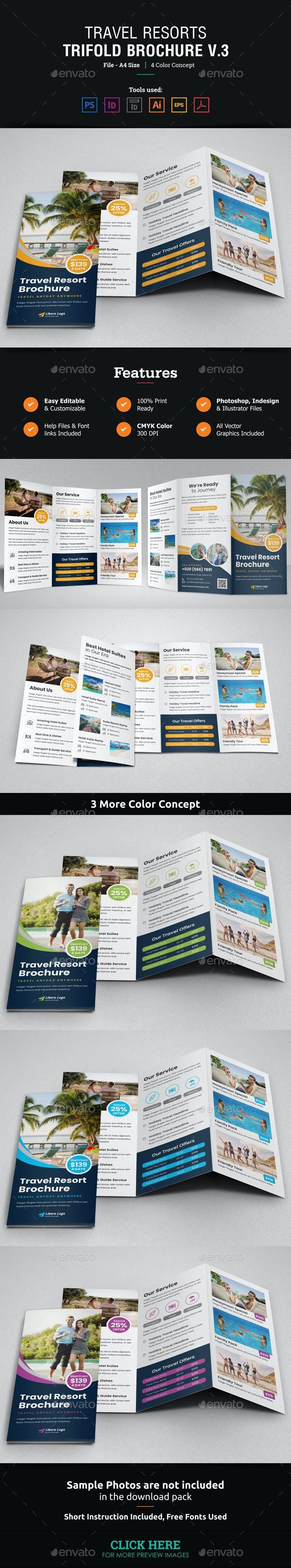 Travel Resort Trifold Brochure Design v3 - Corporate Brochures