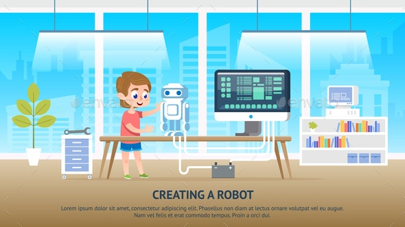 School Kid Character Creating a Robot at Classroom - People Characters