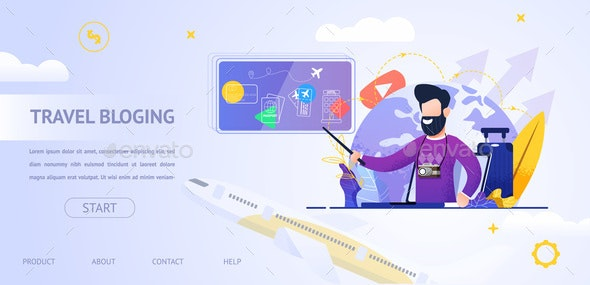 Banner Illustration Travel Blogging Video Online - Travel Conceptual