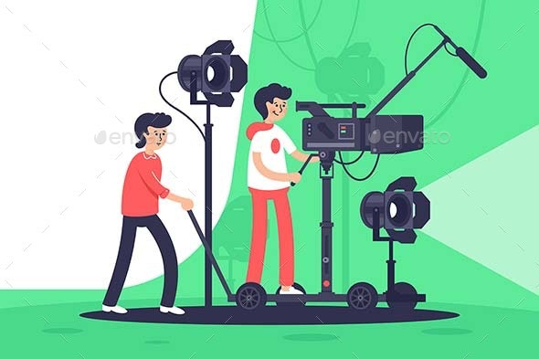 Smiling People Filming Movie with Special Equipment. - People Characters