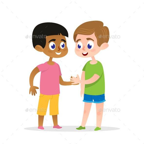 Two Friends Handshake Vector Illustration - People Characters