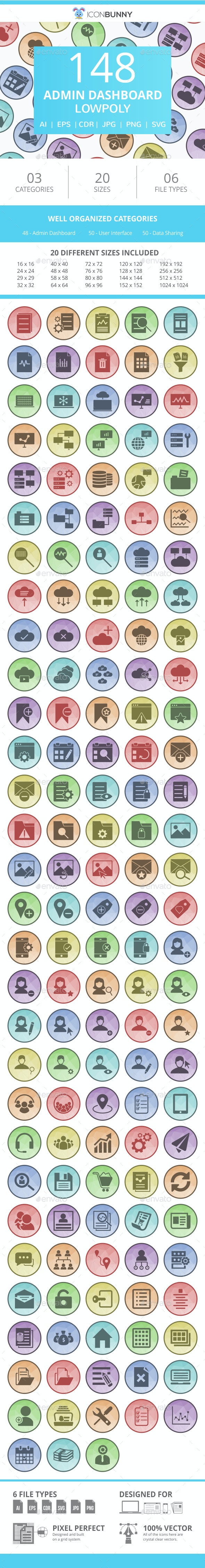 150 Office & Stationery Filled Low Poly Icons - Icons