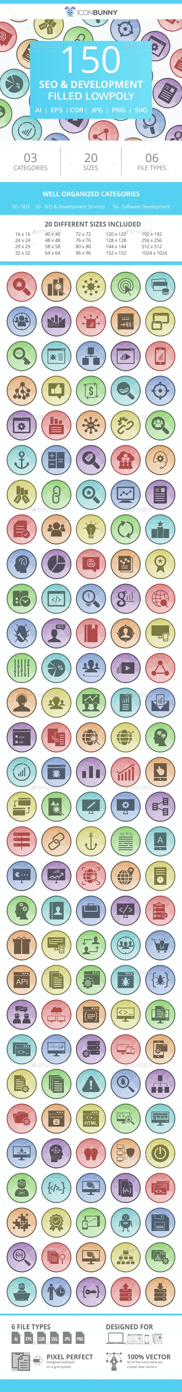 150 SEO & Development Filled Low Poly Icons - Icons