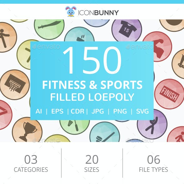 150 Fitness & Sports Filled Low Poly Icons