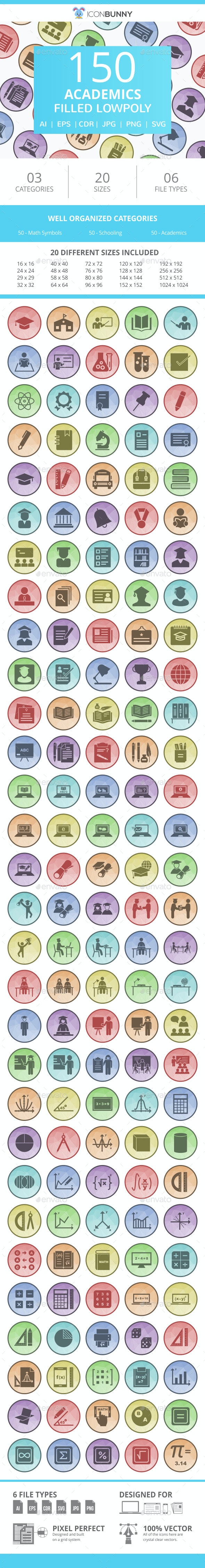 150 Academics Filled Low Poly Icons - Icons