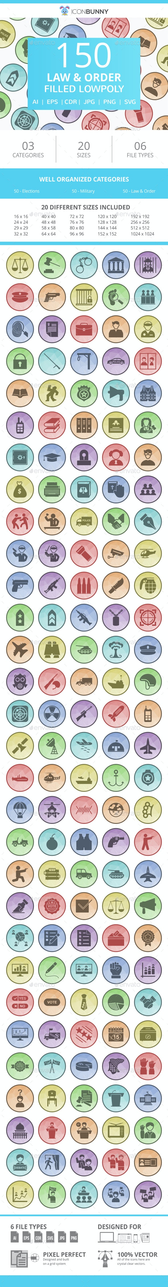 150 Law & Order Filled Low Poly Icons - Icons