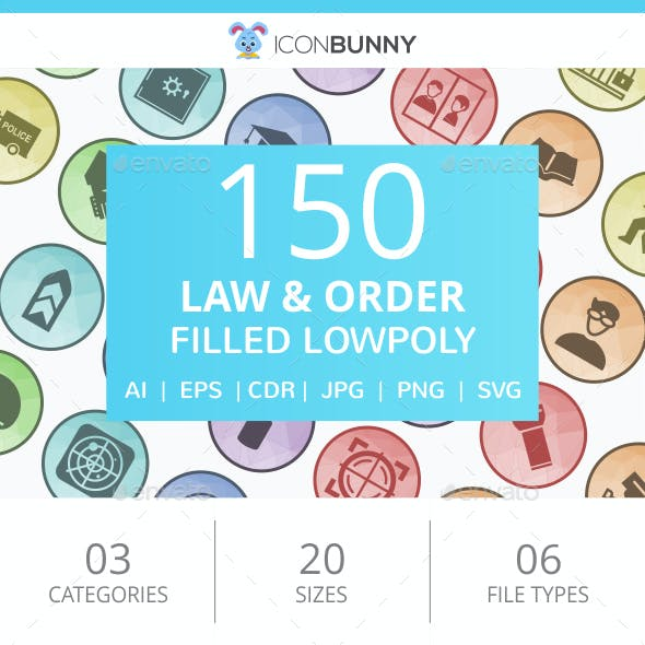 150 Law & Order Filled Low Poly Icons