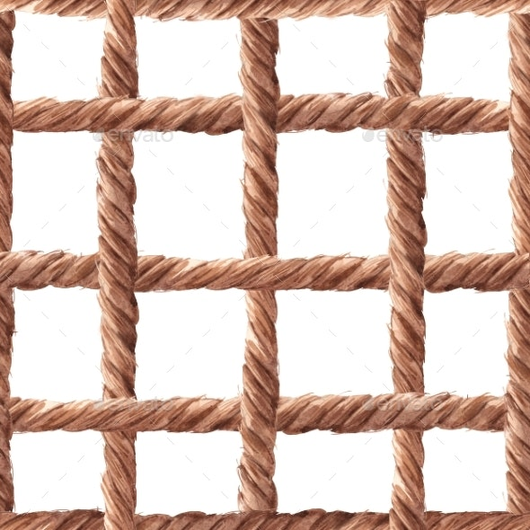 Watercolor Rope Fishing Net Pattern - Patterns Backgrounds