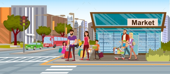 Family Shopping in City Market Flat Vector Concept - People Characters