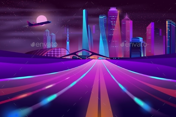 Vector Empty Road in Megapolis at Night - Buildings Objects