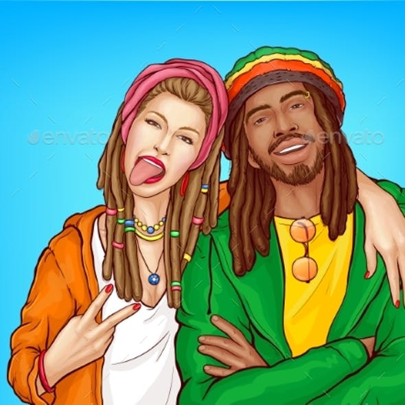 Rastafarian Subculture People Pop Art Vector