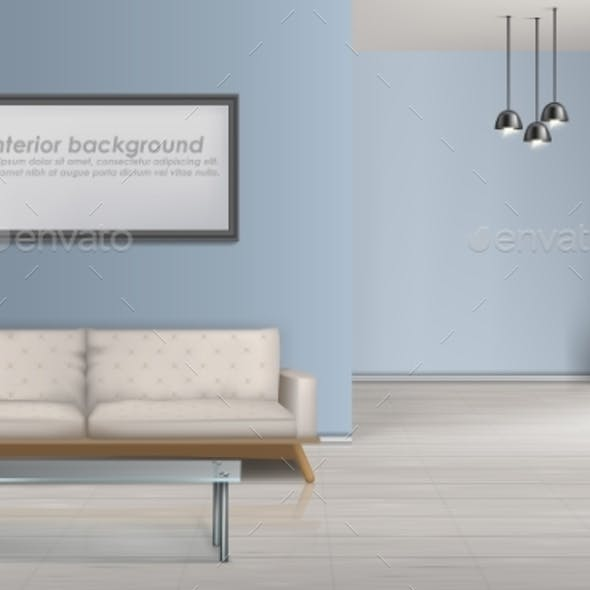 Spacious Living Room Realistic Vector Background