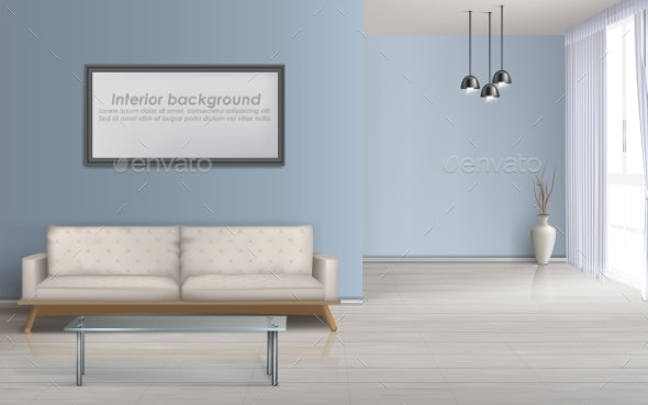 Spacious Living Room Realistic Vector Background - Buildings Objects