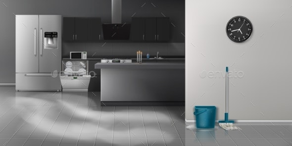 Kitchen Cleaning Realistic Vector Background - Buildings Objects