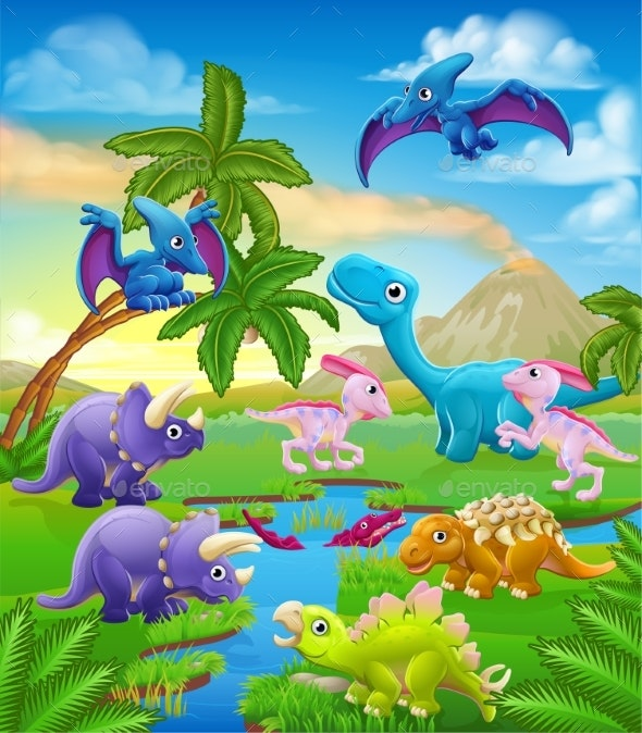 Dinosaur Cartoon Prehistoric Landscape Scene - Animals Characters