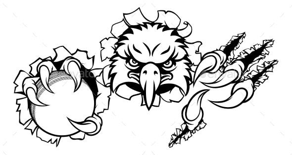 Eagle Cricket Cartoon Mascot Tearing Background - Sports/Activity Conceptual