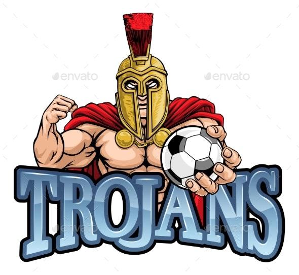Trojan Spartan Soccer Football Sports Mascot - Sports/Activity Conceptual