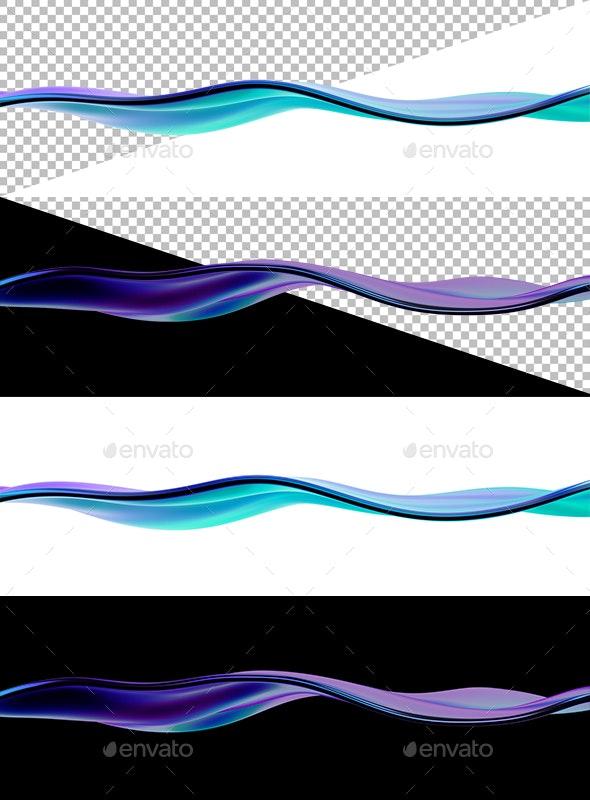 Wavy Liquid Line - Abstract 3D Renders