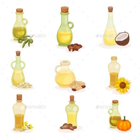 Flat Vector Set of Glass Bottles of Different Oils
