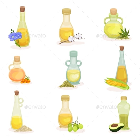 Flat Vector Set of Glass Bottles of Different Oils - Food Objects
