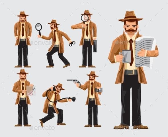 Set of Cartoon Detective in Action - Miscellaneous Vectors
