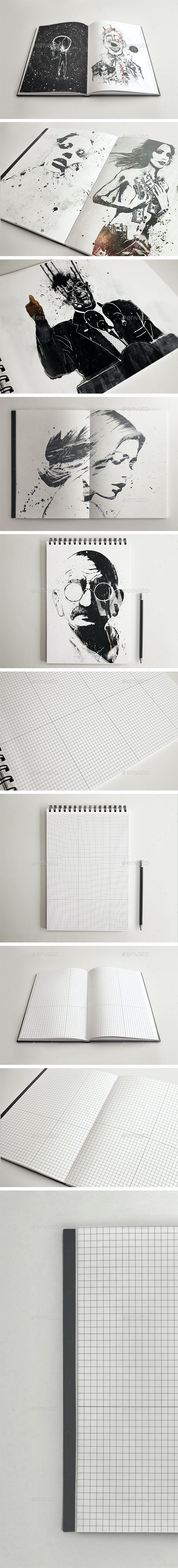 5 SketchBook Notebook Mockups - Books Print