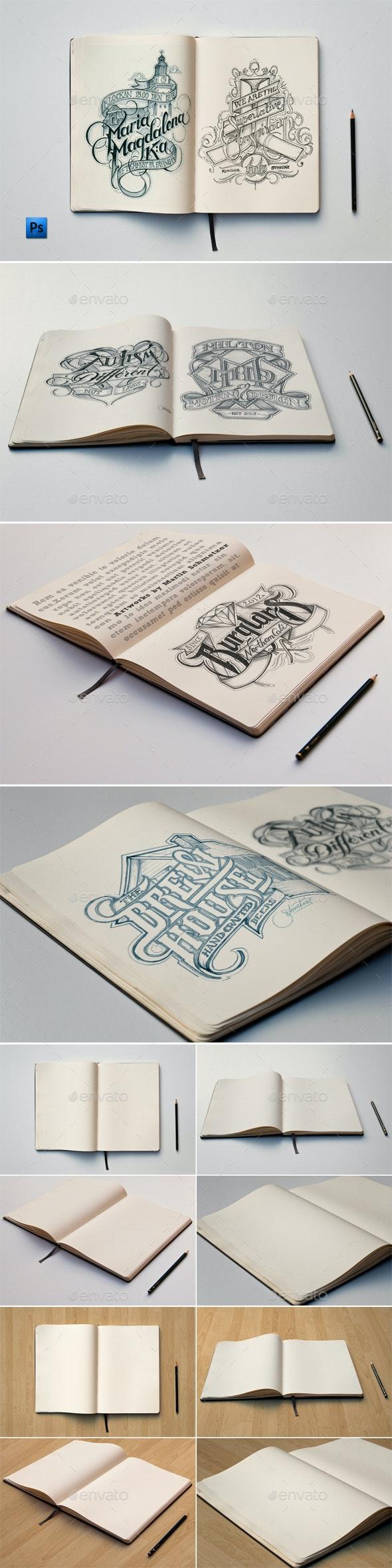Sketch Book Mockups - Print Product Mock-Ups