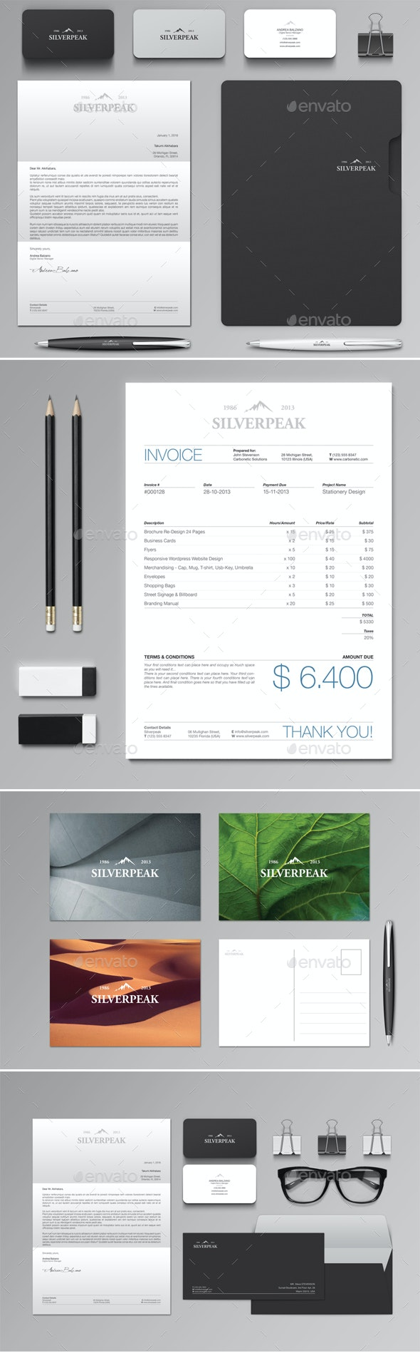 Silverpeak Stationery Set & Invoice Template - Stationery Print Templates