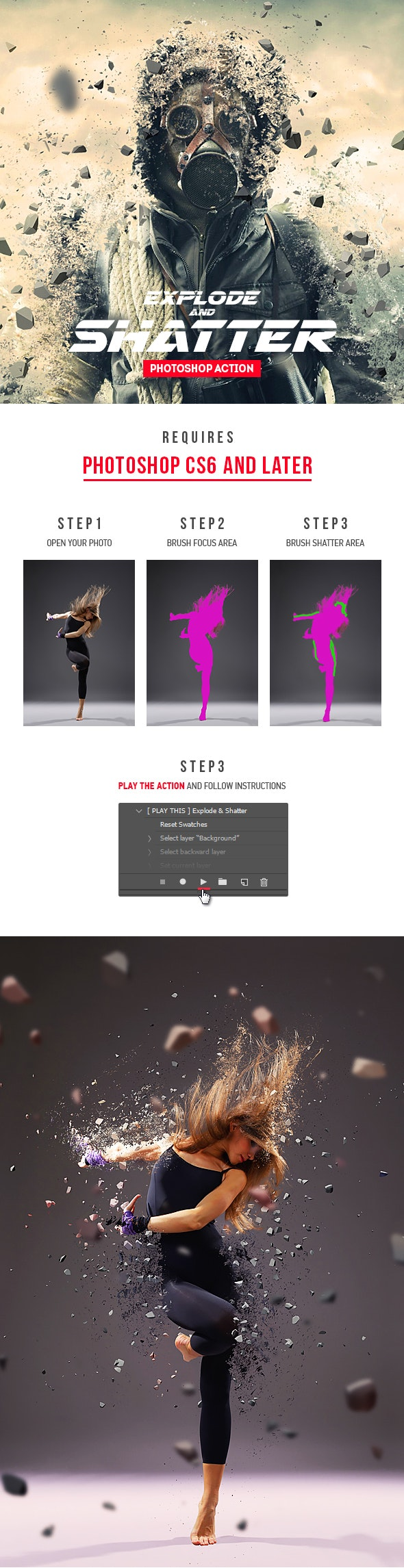 Explode And Shatter Photoshop Action by Ayashi | GraphicRiver